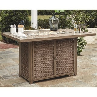 Havenside Home Sandestria Light Grey Outdoor Bar Table with Fire Pit