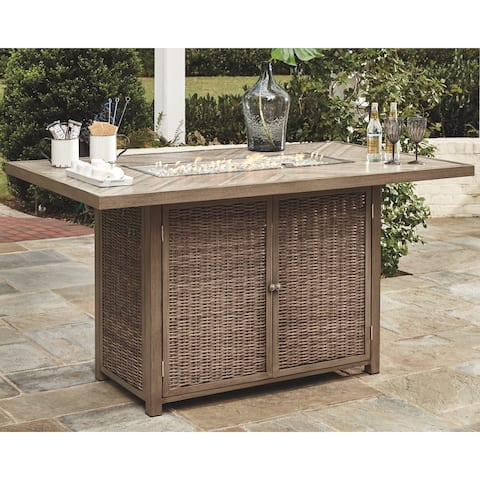 Signature Design by Ashley Beachcroft Light Grey Outdoor Bar Table with Fire Pit