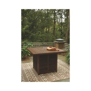 Paradise Trail Outdoor Square Bar Table w/Fire Pit - Medium Brown