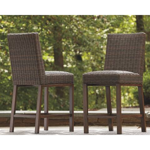 Paradise Trail Outdoor Barstool (Set of 2) - Medium Brown