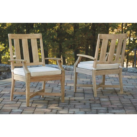 Ashley Furniture Signature Design Clare View Outdoor Arm Chair With Cushion (2/CN) - Beige