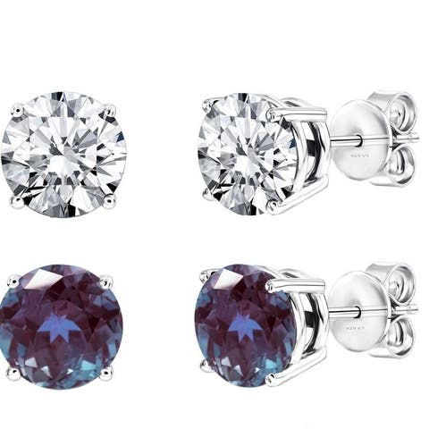 fafd45601 Set of Two Sterling Silver Stud Earring with Color Changing Alexandrite and  White Topaz