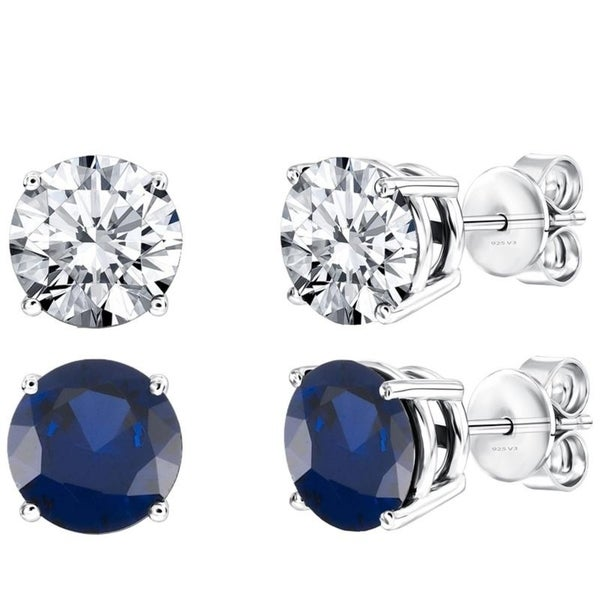 f4ad20d43 Shop Set of Two Sterling Silver Stud Earring with Blue Sapphire and White  Topaz - On Sale - Free Shipping Today - Overstock - 25737792