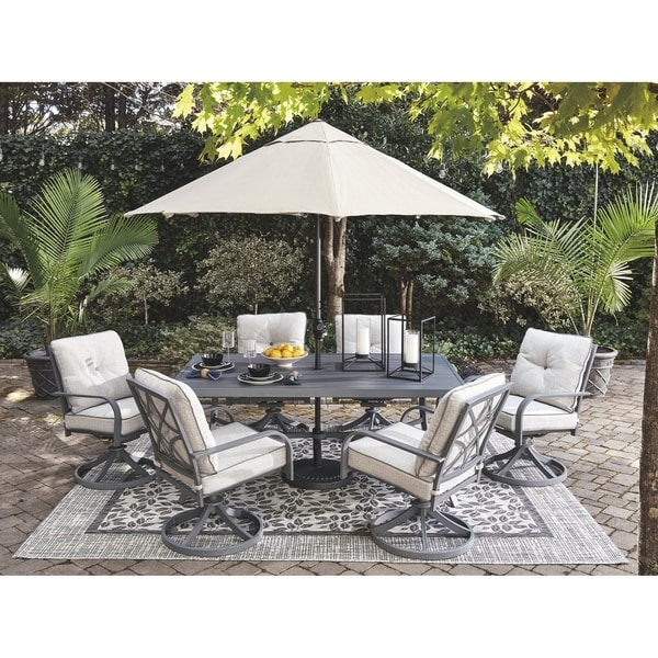 Donnalee Bay Outdoor Swivel Lounge Chairs Dark Gray Set of 2 Ashley Furniture Signature Design