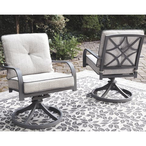 4c9cfc3af Donnalee Bay Outdoor Swivel Lounge Chair (Set of 2)- Dark Gray