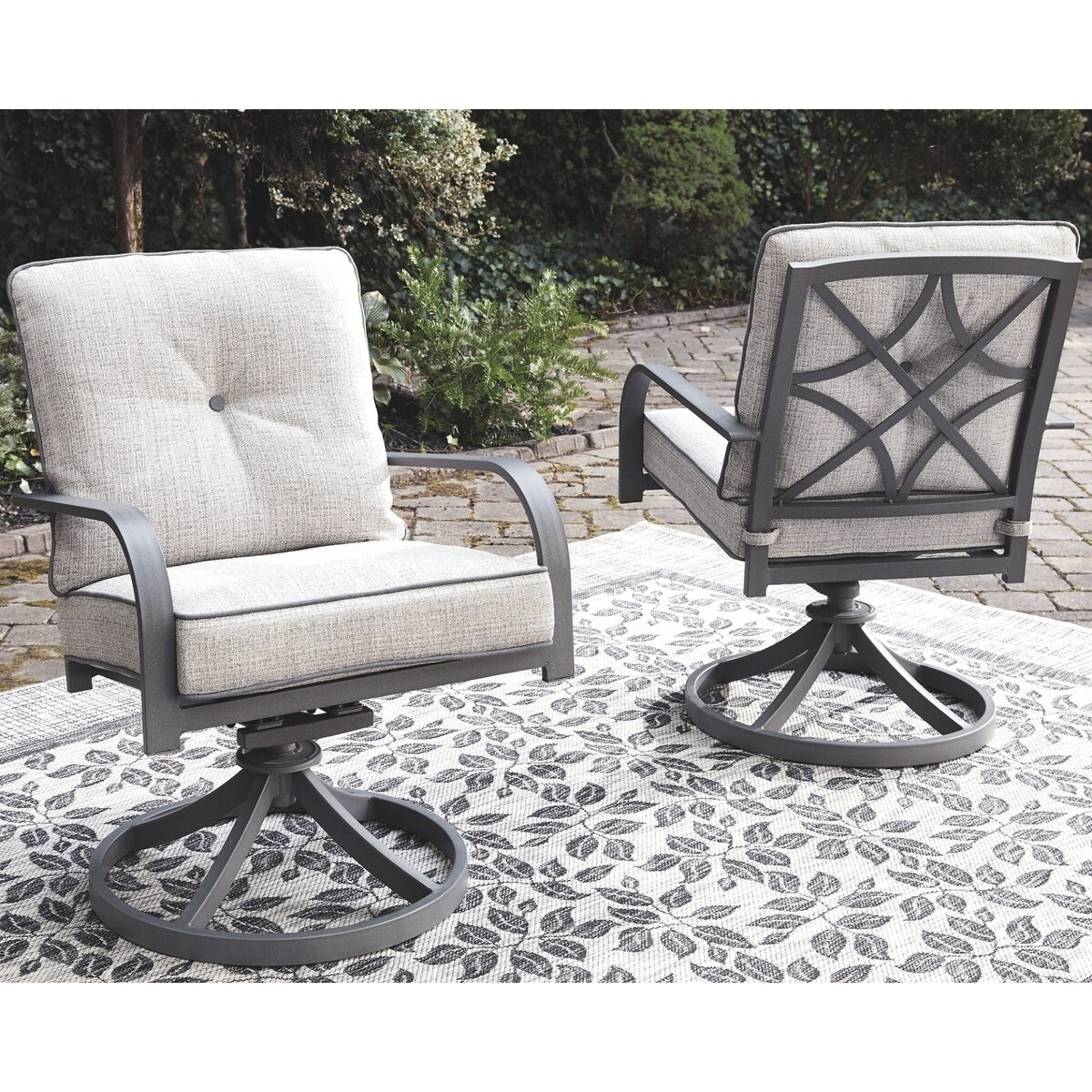 Donnalee Bay Outdoor Swivel Lounge Chair (Set Of 2)  Dark Gray