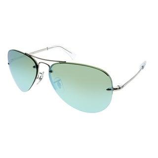 Ray-Ban Aviator RB 3449 904330 Unisex Silver Frame Green Mirror Lens Sunglasses