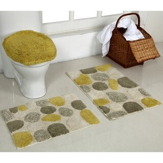 River Rock 3 Pcs Set Bath Rug 20X30 & 17X24 & 18X19 Aqua