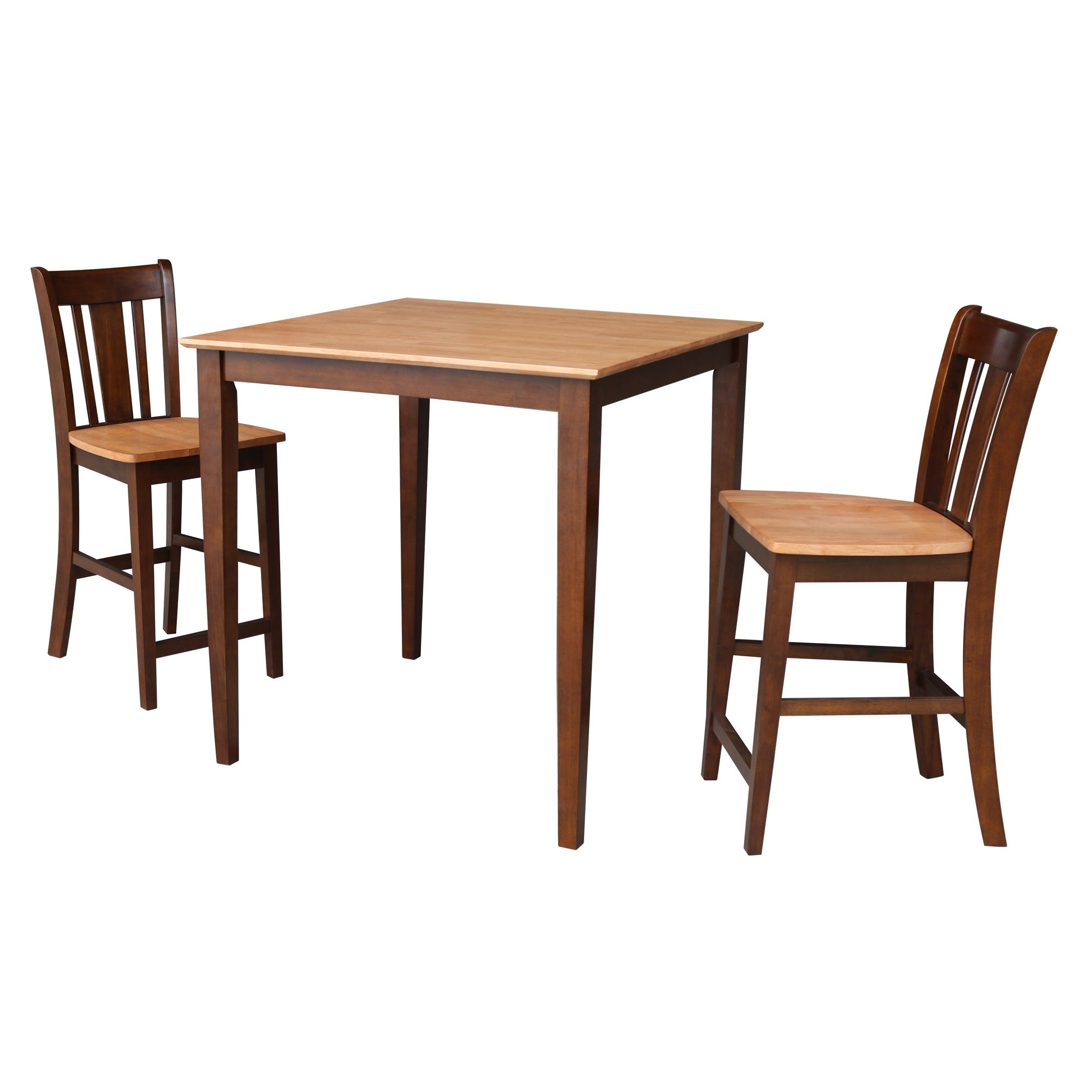 Shop 36x36 Counter Height Dining Table With 2 Counter Height Stools In Cinnamon Espresso On Sale Overstock 25738224