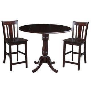 """42"""" Round Pedestal Gathering Height Table with 2 Counter Height Stools in Rich Mocha"""