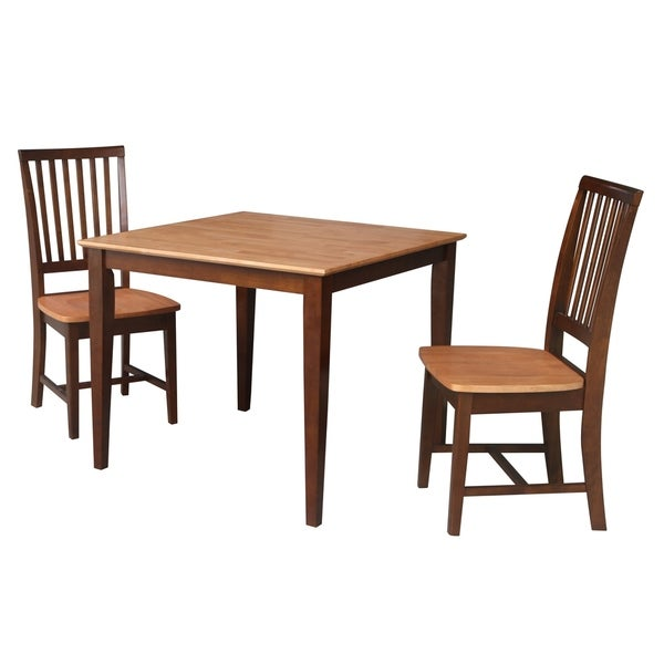 36x36 Dining Table with 2 Chairs in Cinnamon/Espresso