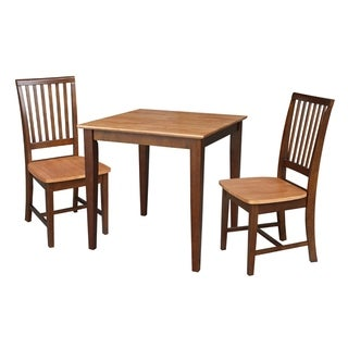 30x30 Dining Table with 2 Chairs in Cinnamon/Espresso