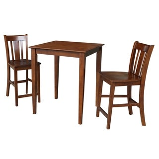 30x30 Counter Height Dining Table with 2 Counter Height Stools in Espresso