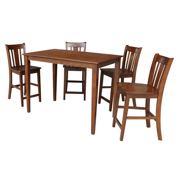 30x48 Counter Height Dining Table with 4 Counter Height Stools in Espresso