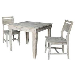 Modern Rustic Solid Wood Table with 2 Chairs in Rustic Gray Wash