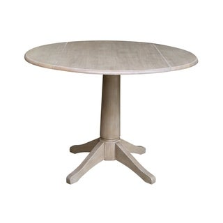 "42"" Round Dual Drop Leaf Pedestal Table - washed gray taupe"