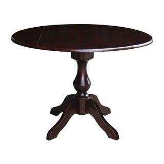 """42"""" Round Dual Drop Leaf Pedestal Table in Rich Mocha - Rich Mocha"""
