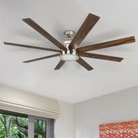 """Honeywell Xerxes 62"""" Brushed Nickel LED Remote Control Ceiling Fan, 8 Blade, Integrated Light"""