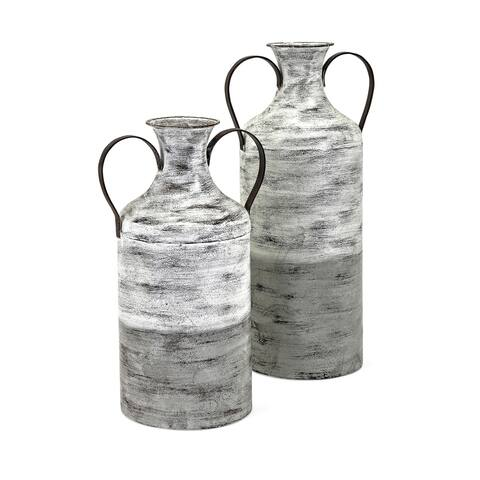 Louver Rustic White and Grey Metal Vases (Set of 2)