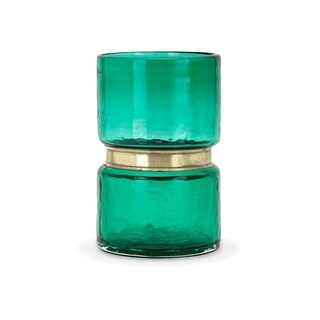 Caspine Green Small Glass and Metal Vase