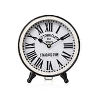 Otto Distressed Black and White Table Clock