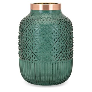 Caper Matte Green Large Glass and Metal Vase