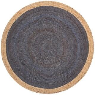 Handmade Yellowstone Braided Dark Blue Jute Rug - 5' Round (India)