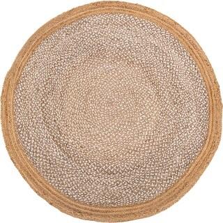 Handmade Yellowstone Braided Bleach Jute Rug - 5' Round (India)
