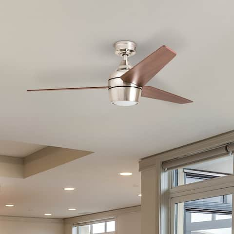 Honeywell Eamon LED Ceiling Fan with Remote, Modern, 3 Blade, Brushed Nickel - 52-inch
