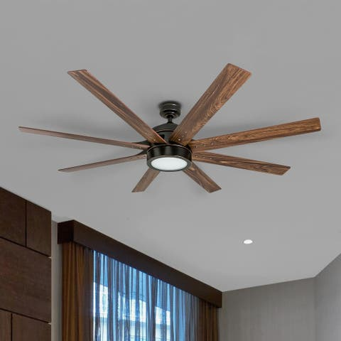 Honeywell Xerxes Oil Rubbed Bronze LED Remote Control Ceiling Fan, 8 Blade, Integrated Light - 62-inch