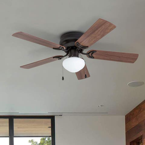 Prominence Home Alvina Ceiling Fan, Traditional, Hugger / Low Profile, LED Globe Light, Bronze - 42-inch