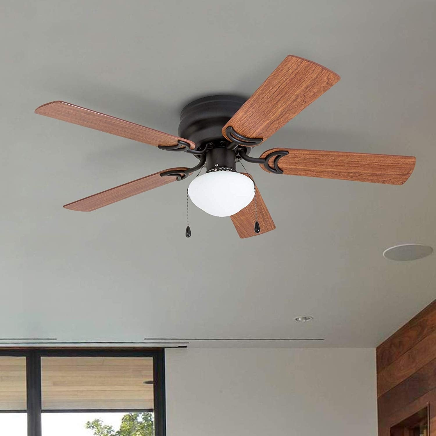 Shop Black Friday Deals On Prominence Home Alvina Ceiling Fan Traditional Hugger Low Profile Led Globe Light Bronze 42 Inch Overstock 25738832