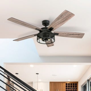 Honeywell Carnige Matte Black LED Industrial Ceiling Fan with Remote, Mesh Drum Lighting, and Edison Bulbs