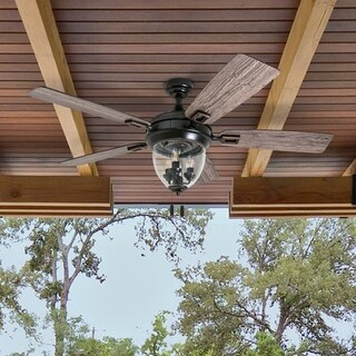 """Honeywell Glencrest 52"""" Craftsman Industrial Oil Rubbed Bronze LED Outdoor Ceiling Fan with Light"""