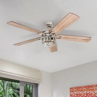 "Honeywell Bontera 52"" Craftsman Brushed Nickel LED Remote Control Ceiling Fan"