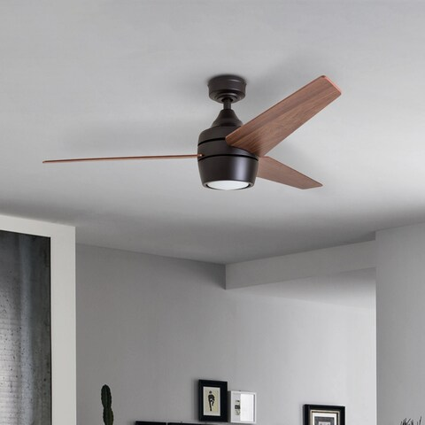 """Honeywell Eamon 52"""" Modern Espresso Bronze Remote Control Ceiling Fan with Integrated LED Light, 3 Blade"""