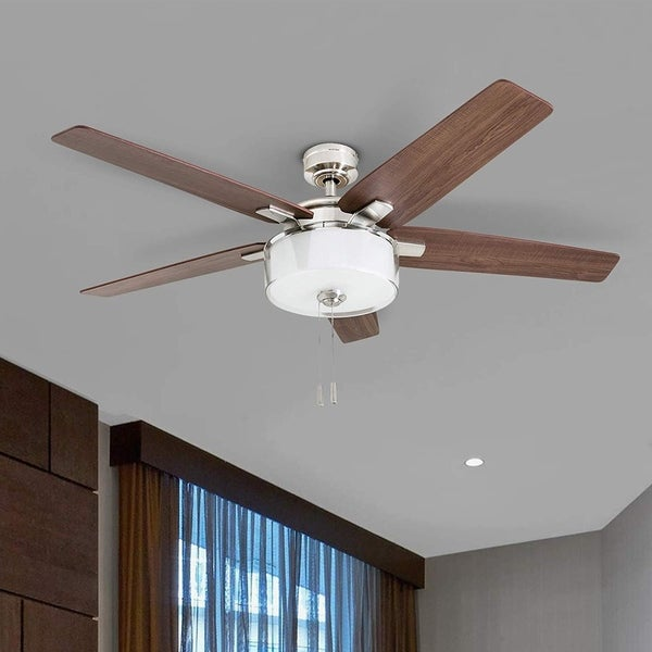 "Prominence Home Cicero 52"" Modern Brushed Nickel LED Ceiling Fan with Drum Light. Opens flyout."