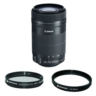Canon EF-S 55-250mm f/4-5.6 IS STM Telephoto Zoom Lens with Agfa Photo 58CP and 58UV Filter