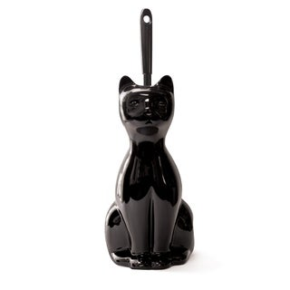 Splash Home Ceramic Cat Toilet Brush And Holder