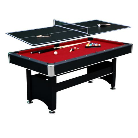 Spartan 6-ft Pool Table with Table Tennis Conversion Top - Black Finish