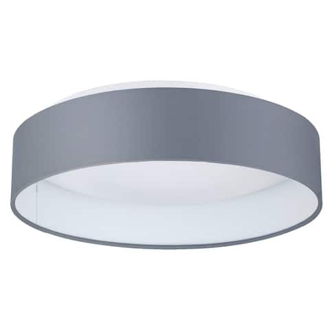Eglo Palomaro Ceiling Light with White Glass and Grey Fabric Shade