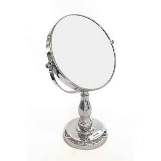 Splash Home Round Makeup Double Sided Magnifying Standing Mirror, Diameter 7 Inches - Chrome