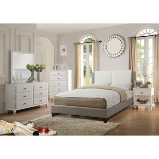 Quinn White and Grey Faux Leather Platform Bed