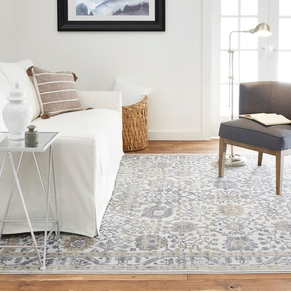 Shop Kenmare Gray Amp Blue Floral Area Rug By Nicole Miller