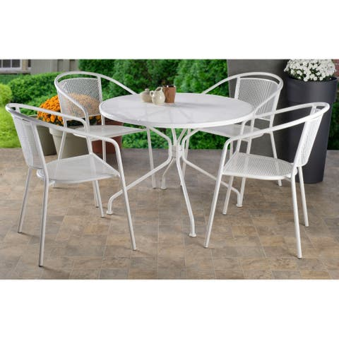 Martini Café Dining Set With Table and 4 Chairs-Bianca Finish