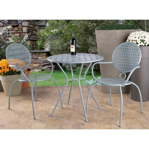 """Martini 3 Piece Bistro Set in Cadet Blue Finish with 27.5"""" Round Bistro Table and 2 Stackable Bistro Chairs"""