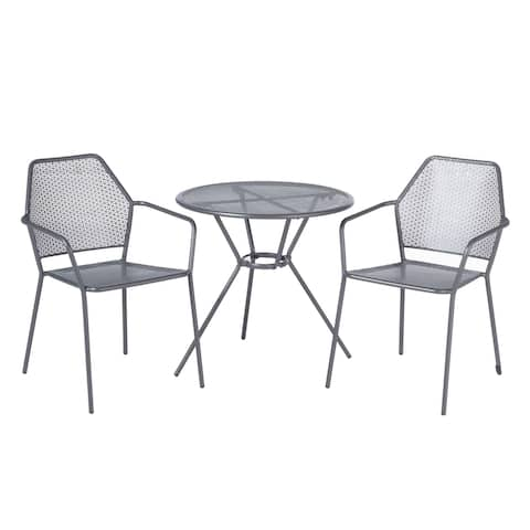 "Martini 3 Piece Bistro Set in Pencil Point Finish with 27.5"" Round Bistro Table and 2 Stackable Bistro Chairs"