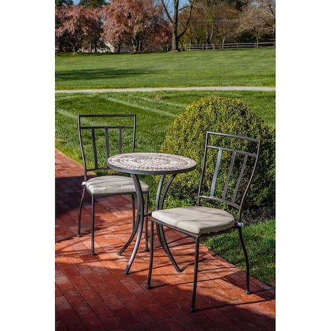 "Boracay 3 Piece Bistro Set With 24"" Round Ceramic Top Bistro Table and 2 Bistro Chairs"