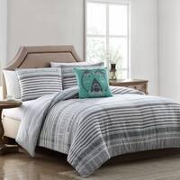 Asher Home Hank Grey Striped Comforter Set