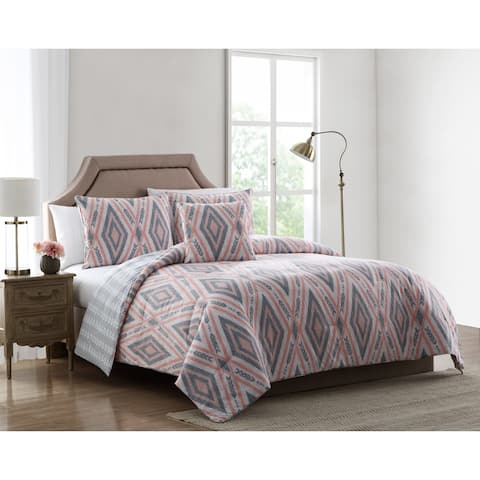 Asher Home Daria Pink and Grey Tribal Print Comforter Set
